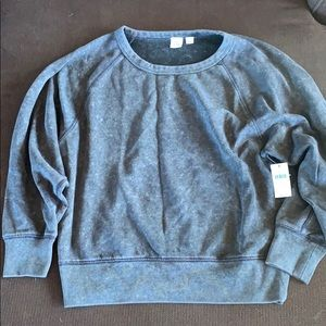 Gap Gray Distressed Crewneck Sweatshirt